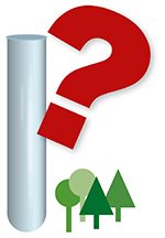Lab tube, question mark and trees. Illustration.