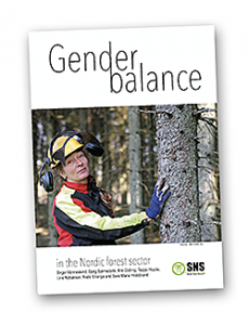 Woman in protection gear with hand on tree. Illustration.