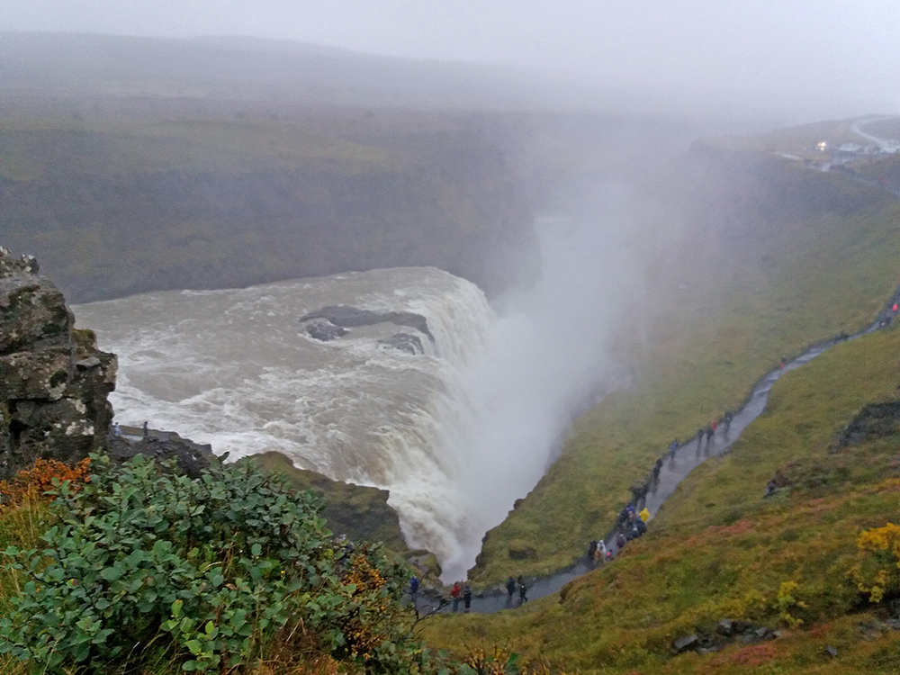 Scenic view with waterfall. Photo.