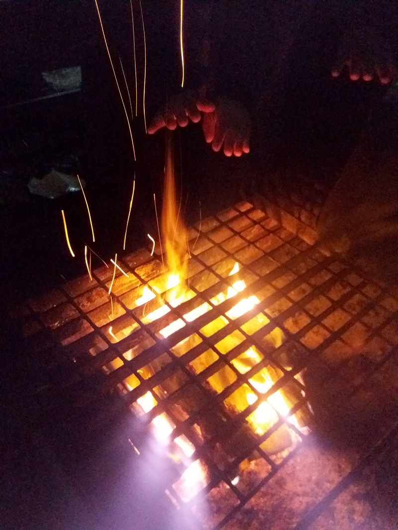 Camp fire. Photo.